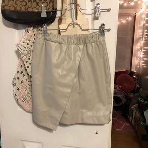 topshop beige pleather envelope mini skirt